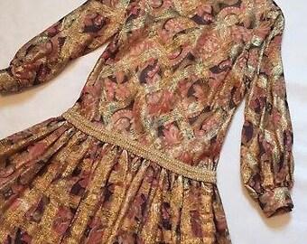 Chester Weinberg VTG 60s Metallic Chiffon Organza Drop Waist Mini Dress Small