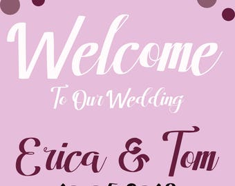 """Personalized Printable Wedding Welcome Signs 21""""x28"""""""