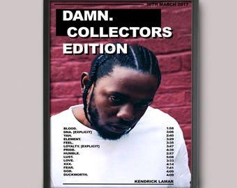 Kendrick Lamar Damn Custom Music Poster // Album Art // A3 Wall Art