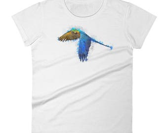 Women's Bright Watercolor Parrot short sleeve t-shirtAll designs from Rowdy Grouse are original and home grown.