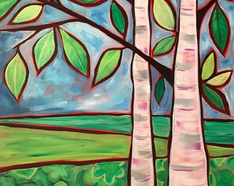 Contemplation ,Original Acrylic painting, Birch Tree. Whimsical painting.