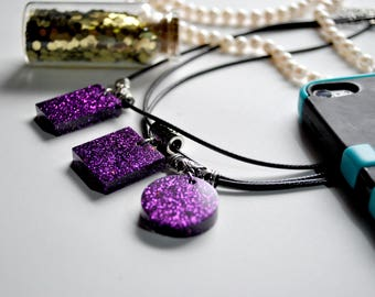 3 Variations - Purple Glitter Resin Necklace
