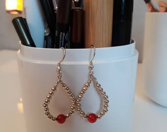 Earrings 925 Silver and Red coral