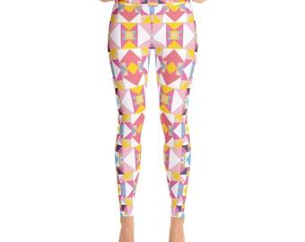 Mosaic Print Yoga Leggings - Womens Leggings - Adult Leggings - Ladies Leggings - Fun Print Leggings
