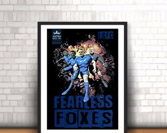 LEICESTER CITY Fearless Foxes Superheroes Poster
