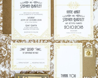 Art Deco Geometric Wedding Invitation Suite of 4 Printable