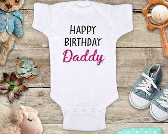 Happy Birthday Daddy Mommy - Teal or Pink design surprise husband baby pregnancy Baby bodysuit Toddler Youth Shirt baby shower gift surprise