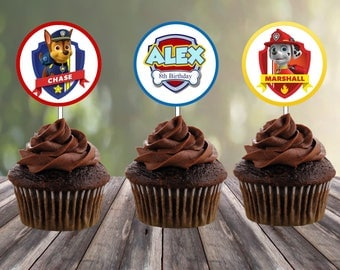 Set of 12 Personalized Cupcake toppers