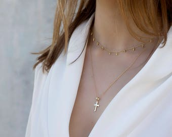 Cross necklace, Gold cross necklace, X gold necklace, Minimalist necklace, Cross silver necklace, Dainty necklace, simple necklace