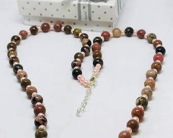Pink necklace, Pink Agate Necklace, Brown Agate Necklace, Natural Agate Necklace