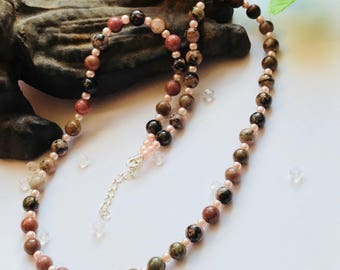 Pink necklace, Pink Agate Necklace, Brown Agate Necklace, Natural Agate Necklace, Natural Stone Necklace
