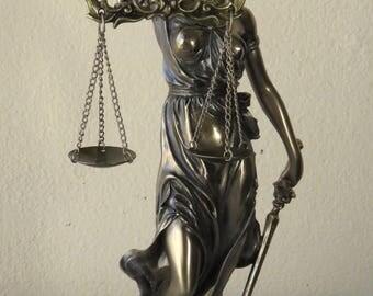 Themis Greek Goddess Statue Figurine / Blind Lady Justice/Bronze Resin/ HANDMADE