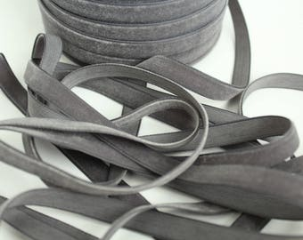 3/8 inch Smoke Grey Velveteen Ribbon by the Yard / 10 MM Velveteen Ribbon / Velvet / Smoke Grey / ER-V077