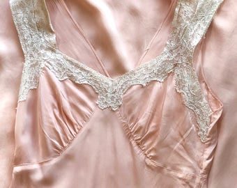 1940s Pink Rayon Nightgown w/ Ivory Cotton Lace sz. S