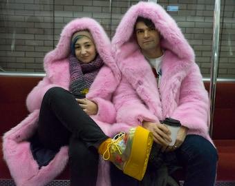 Unicorn pink faux fur coat with a hood Playa coat Festival coat Party jacket Colourful fur jacket Disco jacket