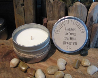 Creme Brulee 8 oz. Soy Wax Candle Travel Tin  Handmade