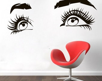 Wall Decal Window Sticker Beauty Salon Woman Face Eyelashes Lashes Eyebrows Brows t66