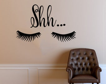 Wall Decal Window Sticker Beauty Salon Woman Face Eyelashes Lashes Eyebrows Brows t665
