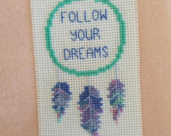 Follow Your Dreams feather cross stitch pattern, instant download PDF only