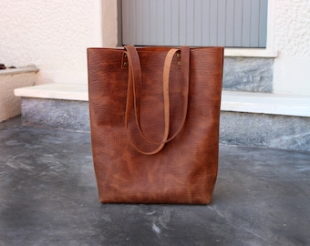 Tall leather tote bag - Tobacco distressed waxed structured leather - Hand stitched shopper bag  - full grain leather tote bag