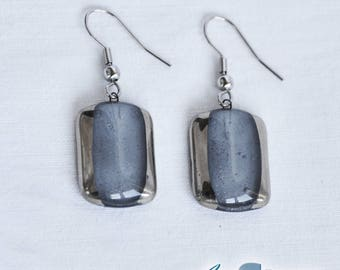 Earrings handmade painted grey with platinum, rectangle