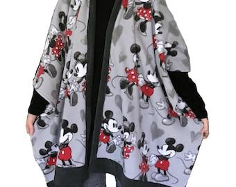 Minnie Mouse & Mickey Mouse Fleece Cape- gray, white, red, black, Disney, anti-pill fleece