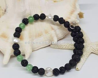 Pearl Bracelet Aventurine Lava Beads Pearls