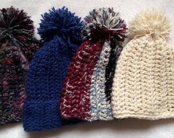 Crocheted Cabled Multi-Yarn Women's Winter Hat