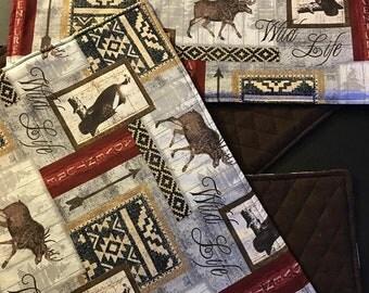 Set of 4 Rustic Moose Place-mats