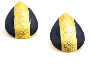 Vintage Blue and Gold Enamel Earrings