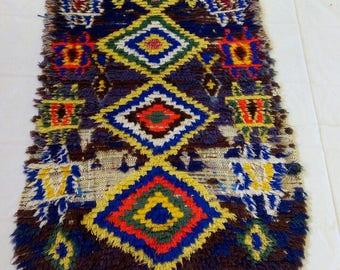 Beni ouarain boucherouitte rug . vintage  220-80 cm