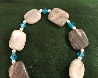 Handmade silver/blue bracelet