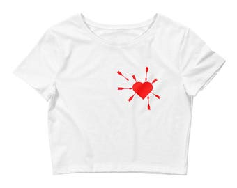 Red Mystic Heart Full of Love Arrows Women's Crop Tee
