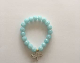 Beautiful 10mm Aqua Glass Bracelet w/ Dragonfly Charm