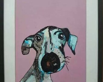 Dog art paper collage, acryllic back, made on masonite and put in frame. Mixed media original one of a kind