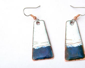 Long Enamel  Earrings - Geometric Enamel Earrings - Blue white Copper Earrings - Free shipping
