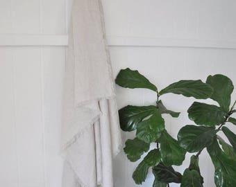 100% Linen Throw - Frayed Edge
