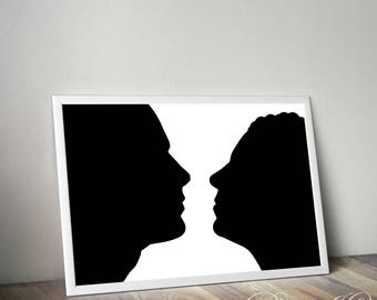 Silhouette of couple. Man and woman