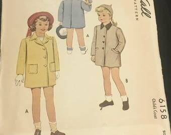 Vintage 40s McCalls Child's Coat Pattern 6158 Size 3 Chest 22