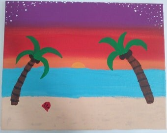 Sunset Ocean Acrylic Painting