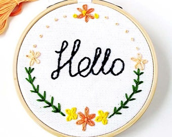 Hello Home decor,Floral embroidery,Flowers,Embroidery hoop,Embroidery art,Hand embroidery,Embroidery hoop art,Modern embroidery