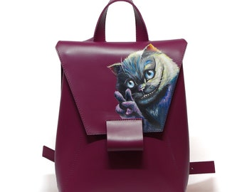 Marsala backpack leather backpack decorated with hand paint backpack woman backpack travel backpack casual city backpack handmade backpack