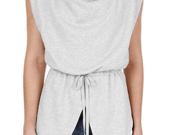 Grey sleeveless cowl neck top