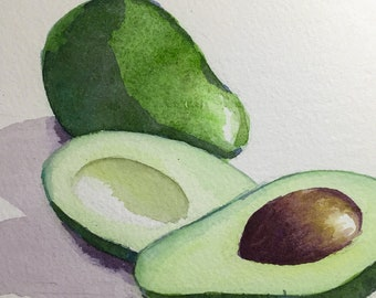 Green Avocado Watercolor Sketch Painting, 5x7 inches