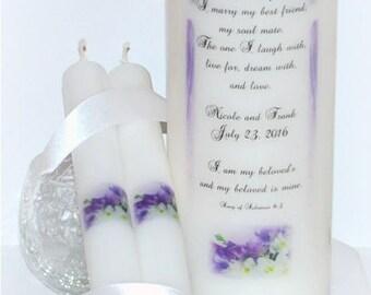 Song of Solomon, I am my beloved's, wedding unity candle set, handmade pillars, custom unity candle design under the wax, Christian weddings