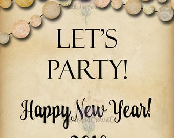 New Year Wine Label Let's Party Download Printable Wine Bottle Label 3.75x4.75 4 on 8.5x11
