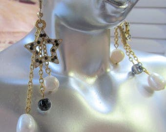 Heavenly Bodies Pearl and Crystal Dangle Earrings for the Holidays