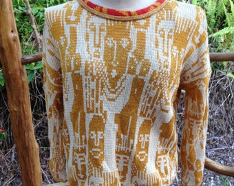 Knit summer sweater, People pattern all over Small Medium oversize, cool cotton cream and gold pullover, gift for her, shimmer top, OOAK
