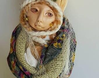 Harvest Moon, Spirit of Renewal, Bohemian art, Polymer Art Doll, Textile art doll, OOAK Art Figure, Bridal Shower gift.
