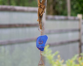Wind Chime Driftwood Cobalt Glass Copper Outdoor Windchimes